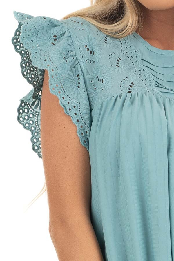 Seafoam Short Sleeve Babydoll Dress with Eyelet Detail detail