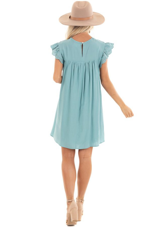 Seafoam Short Sleeve Babydoll Dress with Eyelet Detail back full body