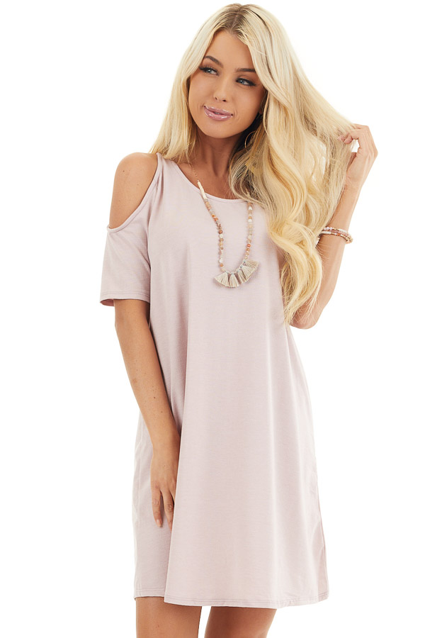 Pale Blush Shift Dress with Cold Shoulders and Short Sleeves front close up
