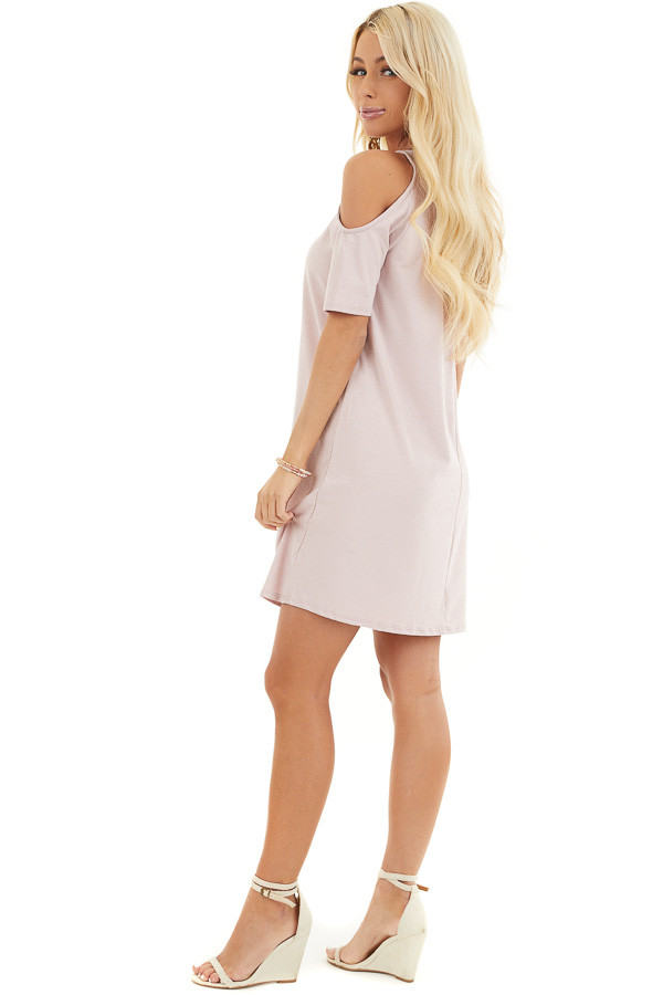 Pale Blush Shift Dress with Cold Shoulders and Short Sleeves side full body