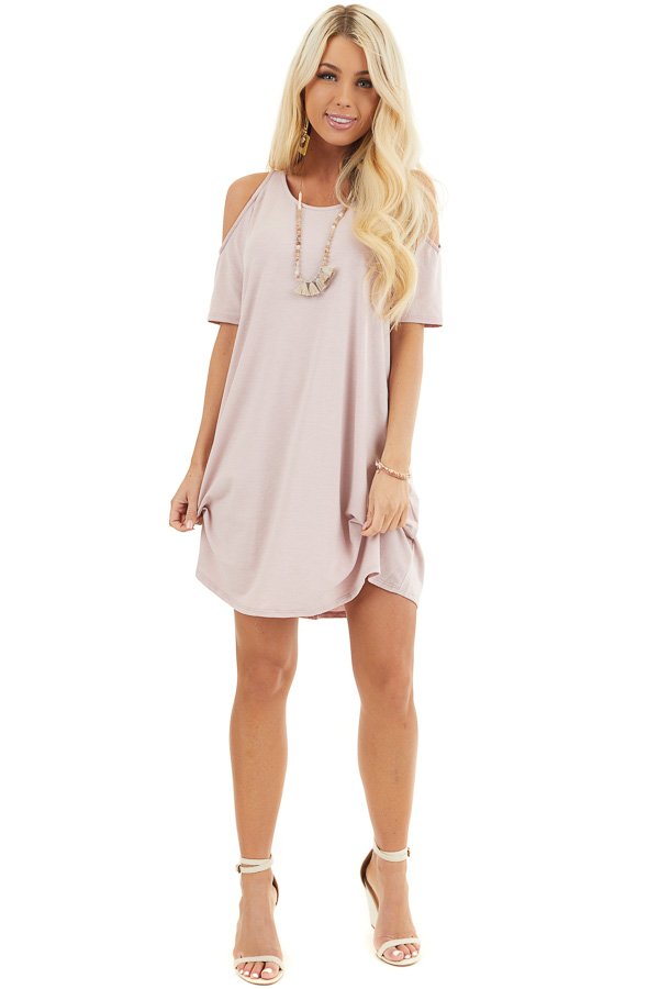 Pale Blush Shift Dress with Cold Shoulders and Short Sleeves front full body