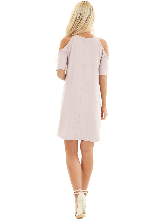 Pale Blush Shift Dress with Cold Shoulders and Short Sleeves back full body