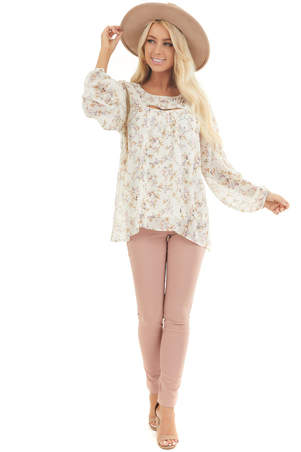 Ivory Floral Print Long Sleeve Woven Top with Cutout Front front full body
