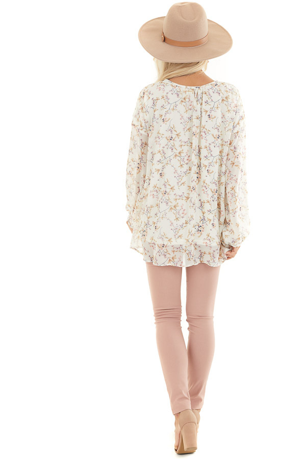 Ivory Floral Print Long Sleeve Woven Top with Cutout Front back full body