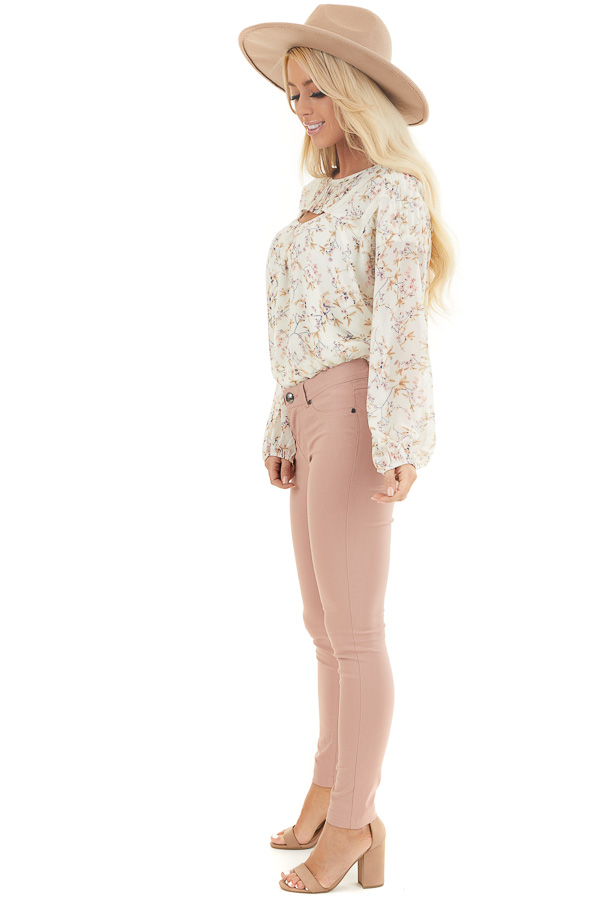 Ivory Floral Print Long Sleeve Woven Top with Cutout Front side full body