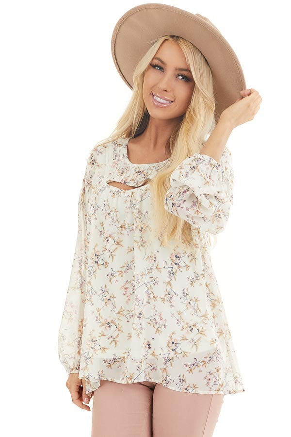 Ivory Floral Print Long Sleeve Woven Top with Cutout Front close up