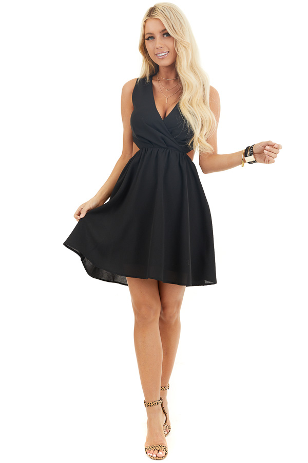 Black Sleeveless Mini Dress with Open Back and Waist Tie front full body