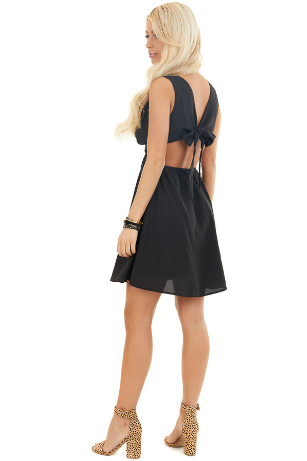 Black Sleeveless Mini Dress with Open Back and Waist Tie side full body