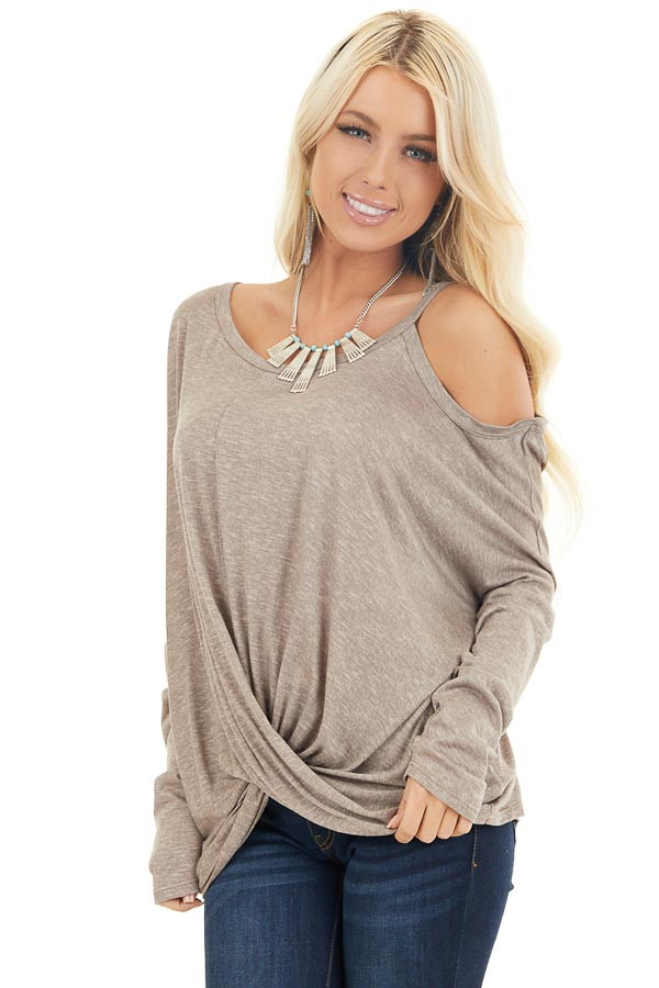 Mocha Long Sleeve Top with One Cold Shoulder and Front Twist front close up