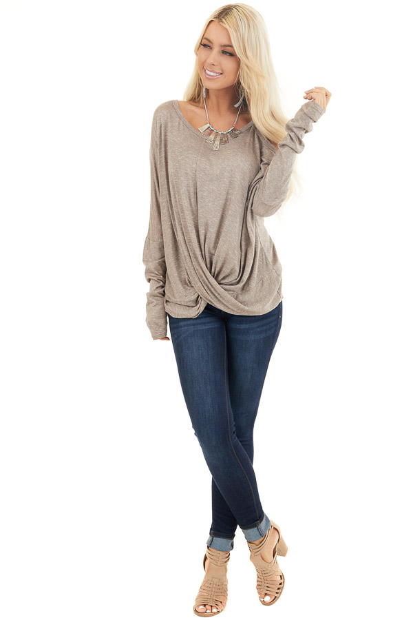 Mocha Long Sleeve Top with One Cold Shoulder and Front Twist front full body