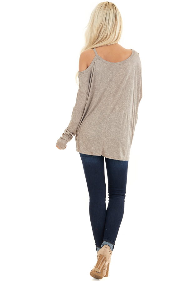Mocha Long Sleeve Top with One Cold Shoulder and Front Twist back full body