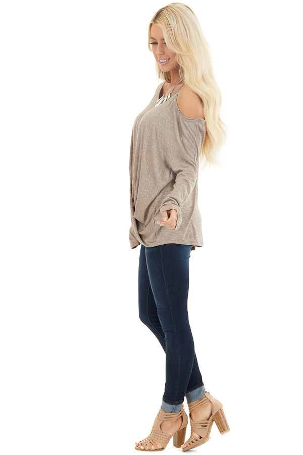 Mocha Long Sleeve Top with One Cold Shoulder and Front Twist side full body