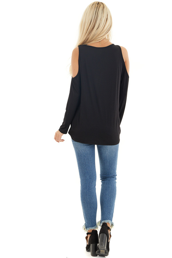 Black Cold Shoulder Long Sleeve Top with Front Twist back full body
