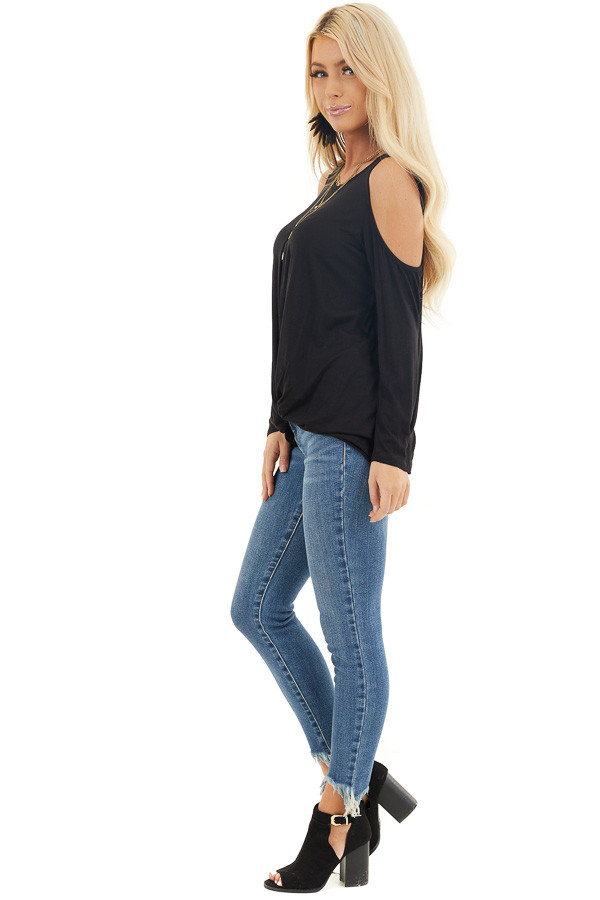 Black Cold Shoulder Long Sleeve Top with Front Twist side full body
