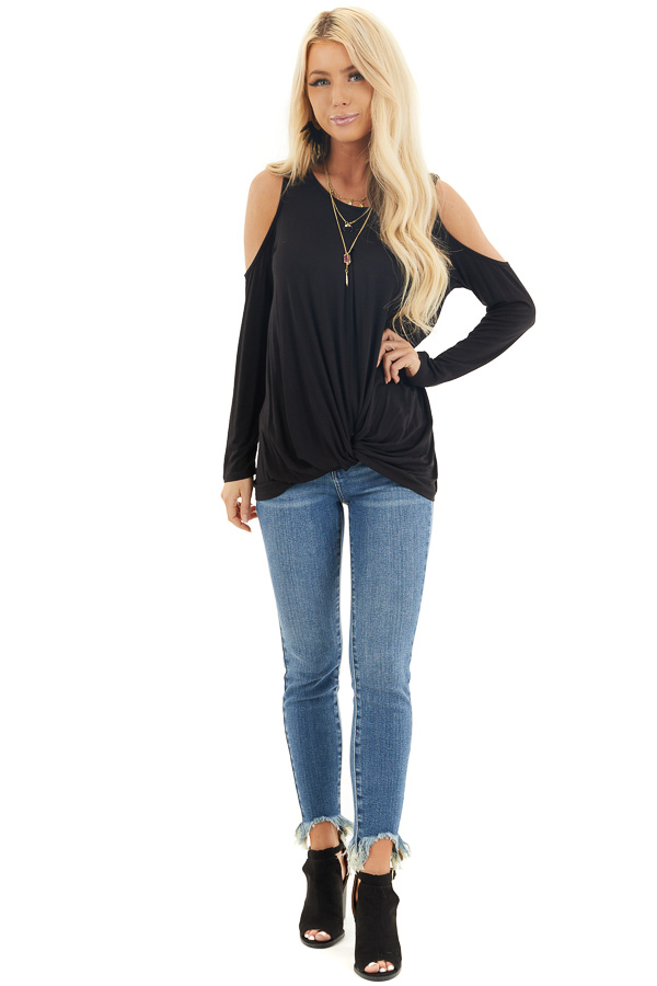 Black Cold Shoulder Long Sleeve Top with Front Twist front full body