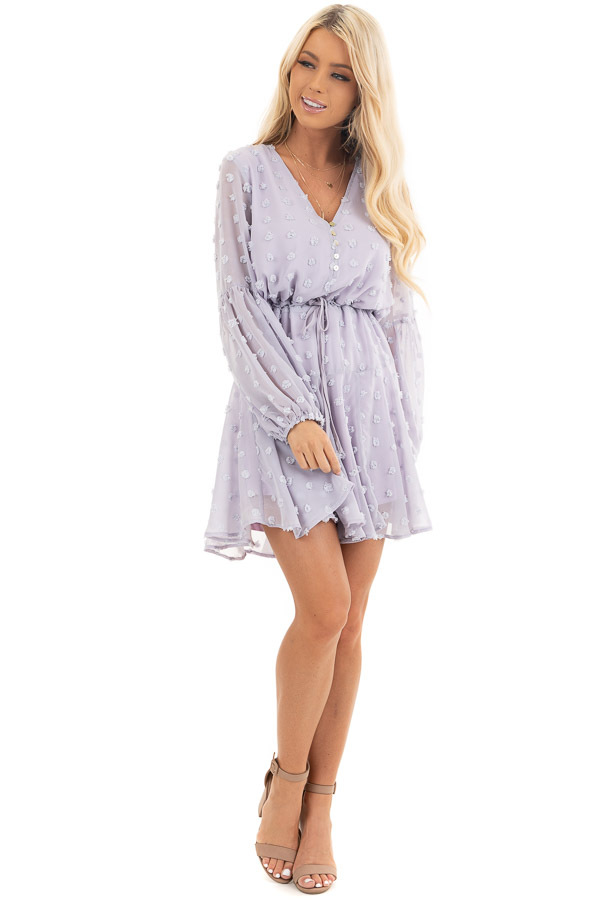 Light Lilac Swiss Dot Dress with Long Bubble Sleeves front full body