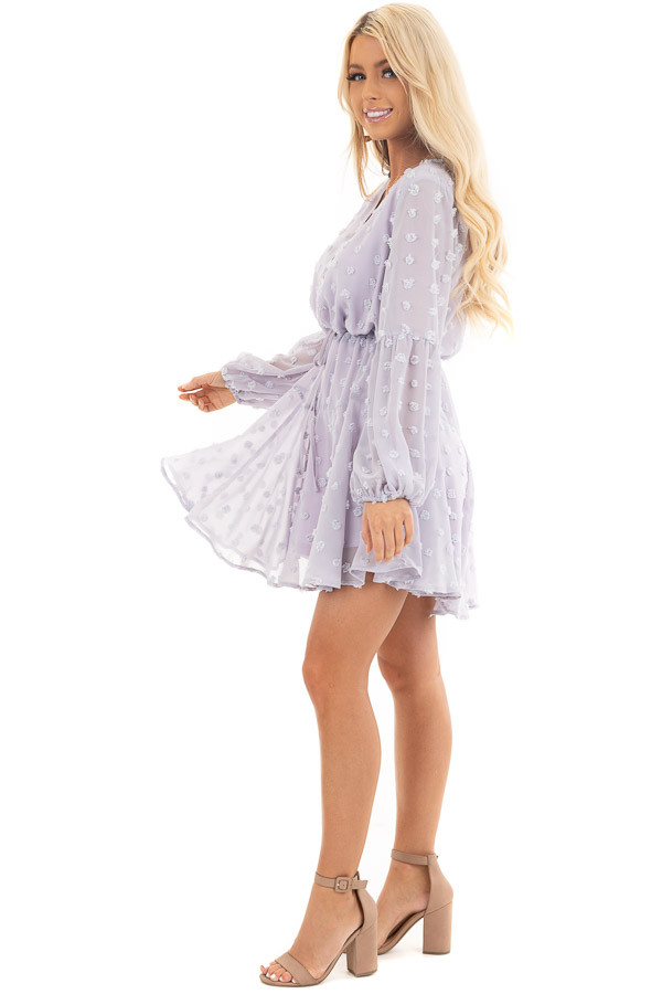 Light Lilac Swiss Dot Dress with Long Bubble Sleeves side full body