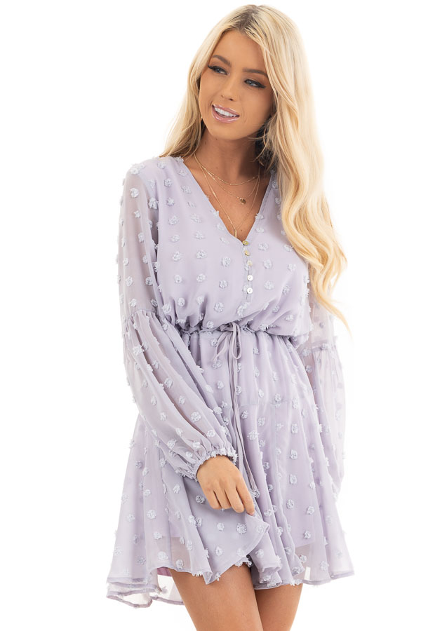 Light Lilac Swiss Dot Dress with Long Bubble Sleeves front close up