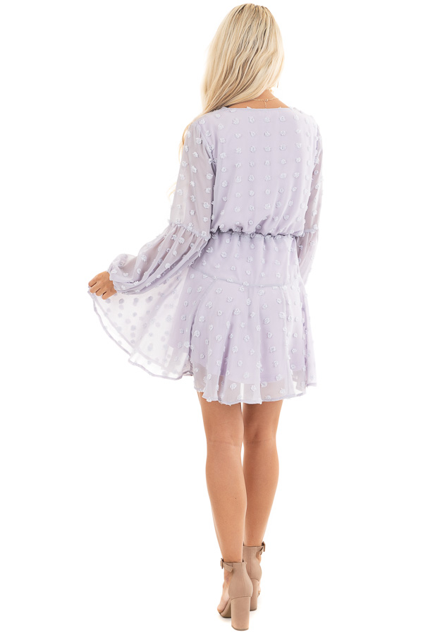 Light Lilac Swiss Dot Dress with Long Bubble Sleeves back full body