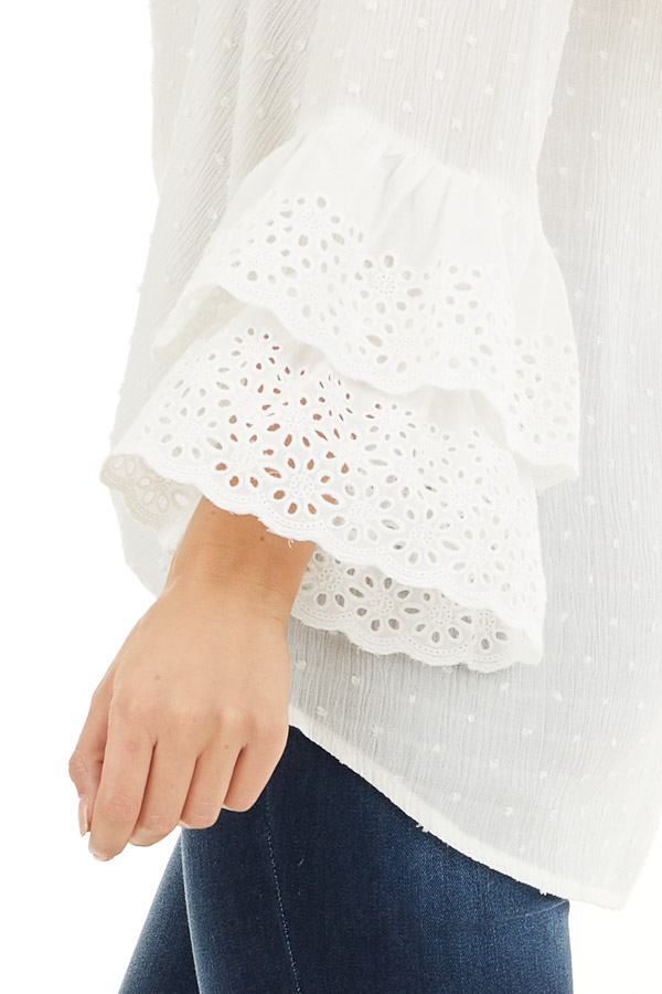 Off White Swiss Dot Top with Front Buttons and Bell Sleeves detail
