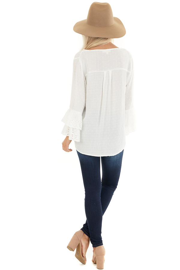 Off White Swiss Dot Top with Front Buttons and Bell Sleeves back full body