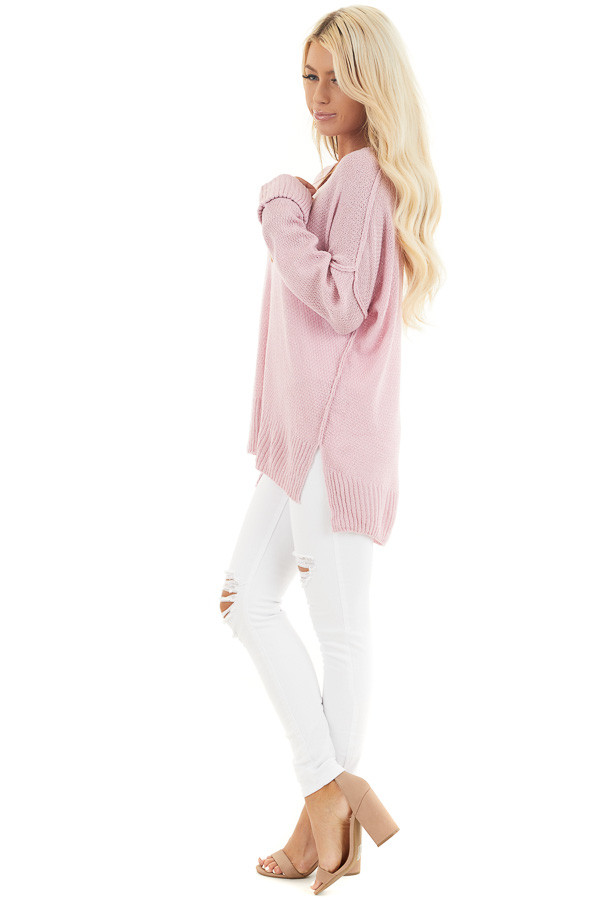 Baby Pink V Neck Lightweight Sweater Top with Rolled Cuffs side full body