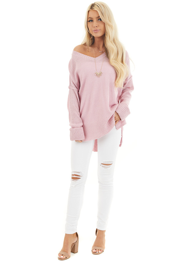 Baby Pink V Neck Lightweight Sweater Top with Rolled Cuffs front full body