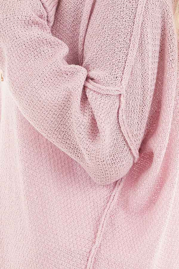 Baby Pink V Neck Lightweight Sweater Top with Rolled Cuffs detail