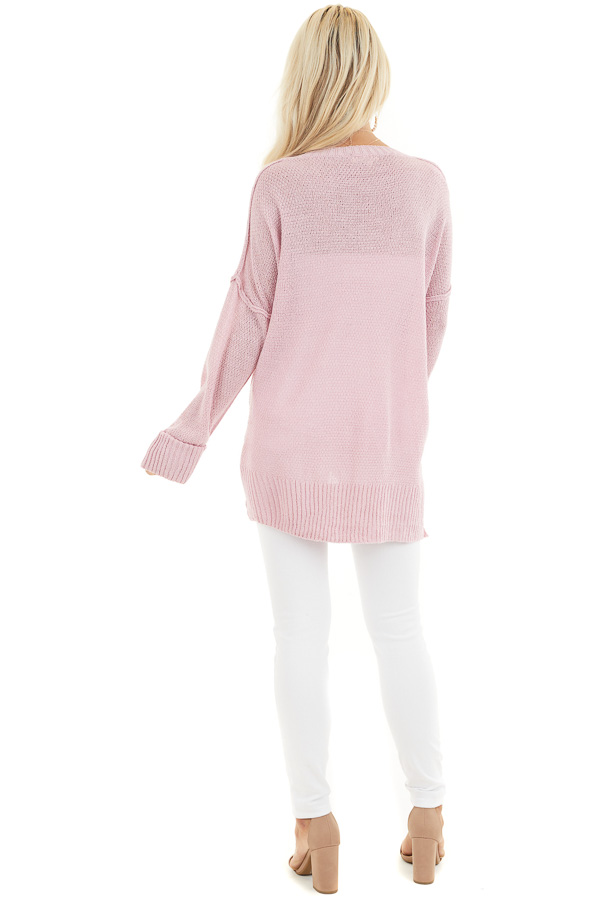 Baby Pink V Neck Lightweight Sweater Top with Rolled Cuffs back full body