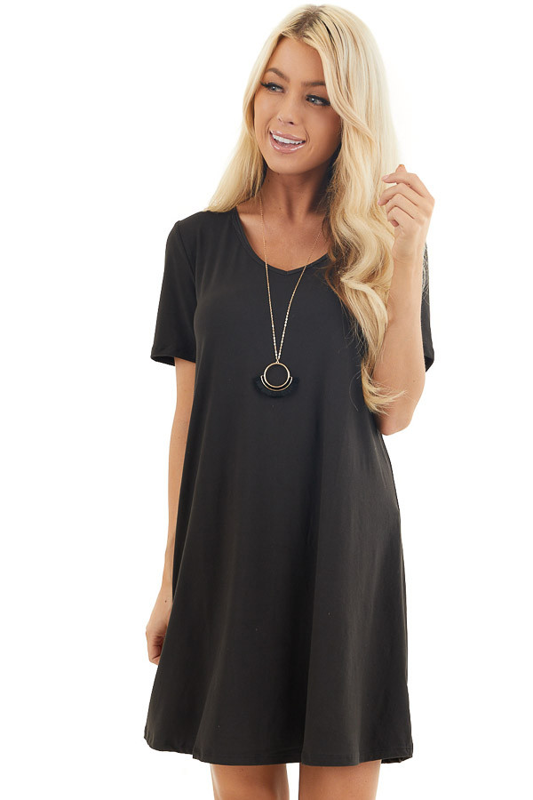 Black Short Sleeve Mini Dress with Criss Cross Back front close up