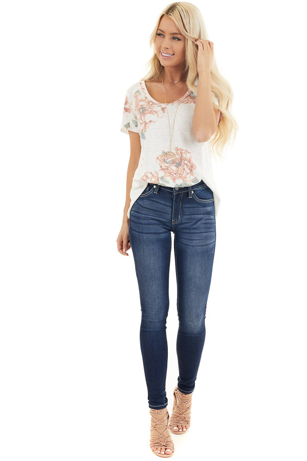 Ivory and Blush Floral Print Top with Textured Knit Details front full body