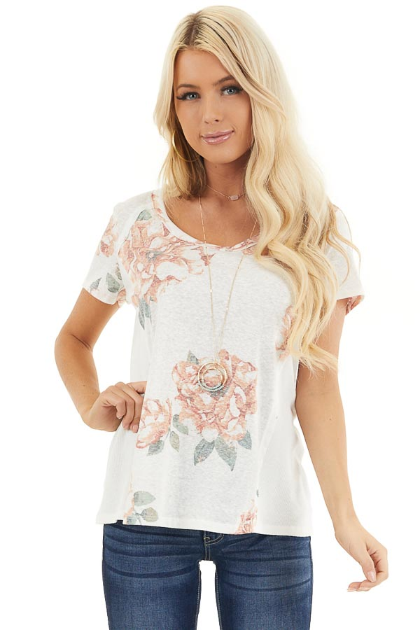 Ivory and Blush Floral Print Top with Textured Knit Details front close up