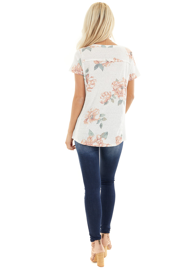 Ivory and Blush Floral Print Top with Textured Knit Details back full body