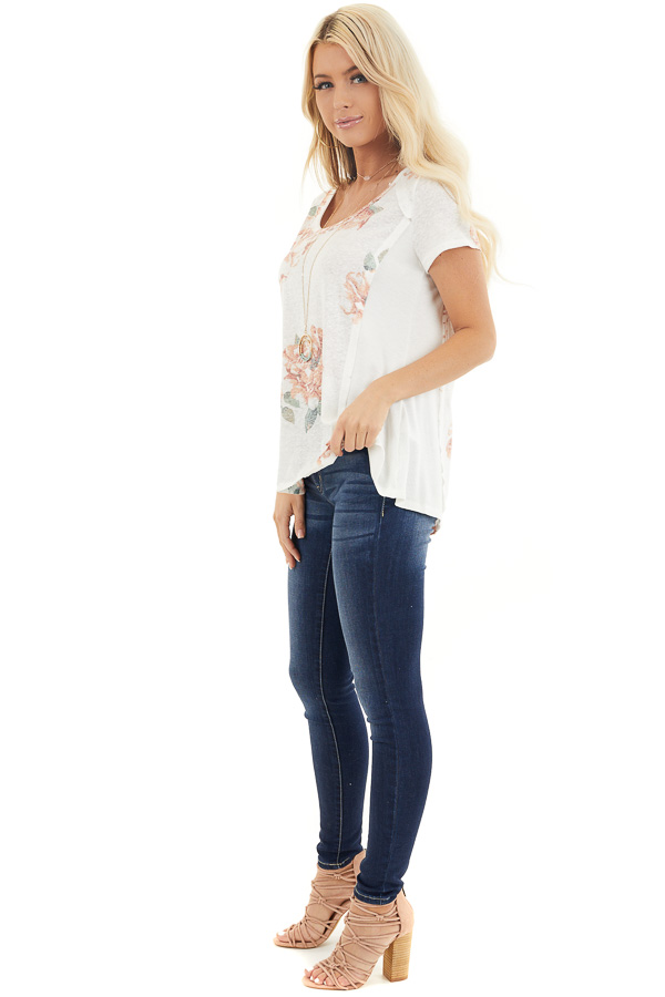 Ivory and Blush Floral Print Top with Textured Knit Details side full body