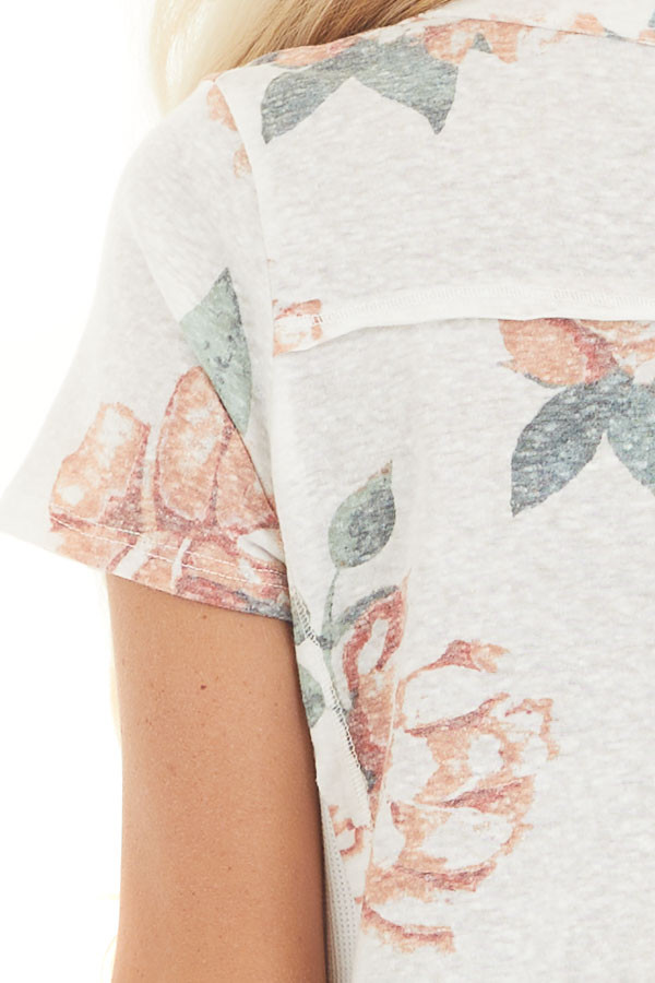 Ivory and Blush Floral Print Top with Textured Knit Details detail