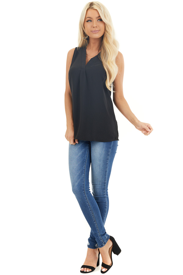 Black Chiffon Tank Top with V Neckline and Rounded Hemline front full body