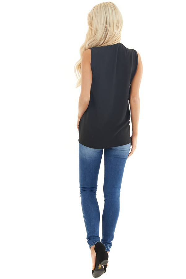 Black Chiffon Tank Top with V Neckline and Rounded Hemline back full body