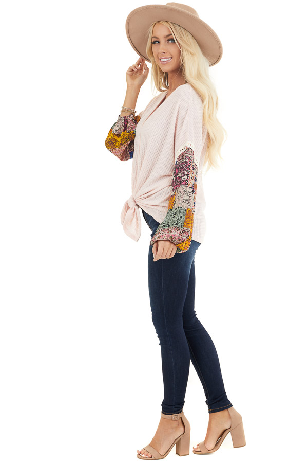 Blush Waffle Knit Top with Long Contrast Print Sleeves side full body