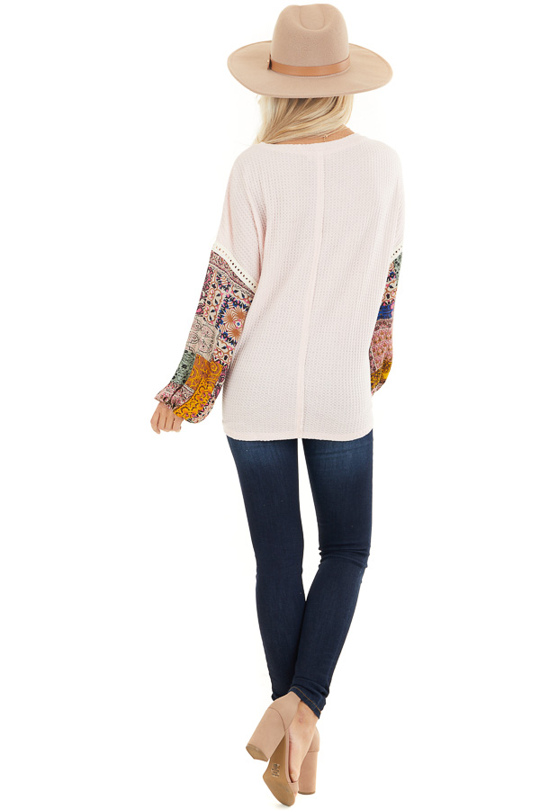 Blush Waffle Knit Top with Long Contrast Print Sleeves back full body