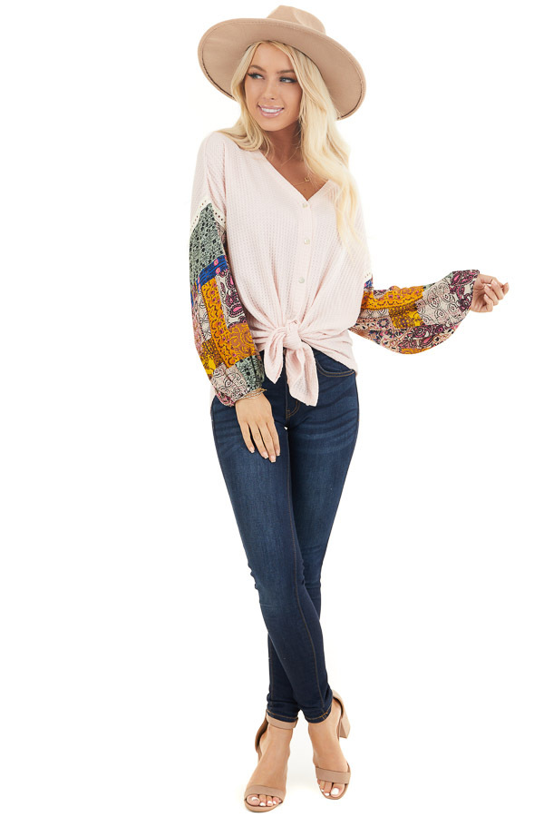 Blush Waffle Knit Top with Long Contrast Print Sleeves front full body