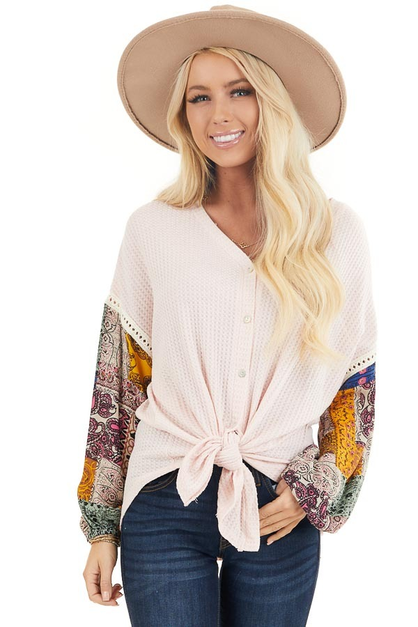 Blush Waffle Knit Top with Long Contrast Print Sleeves front close up