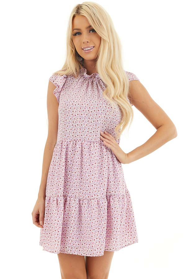 Lilac Printed High Neck Tiered Dress with Ruffle Sleeves front close up