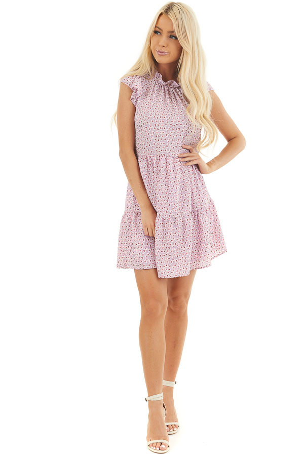 Lilac Printed High Neck Tiered Dress with Ruffle Sleeves front full body