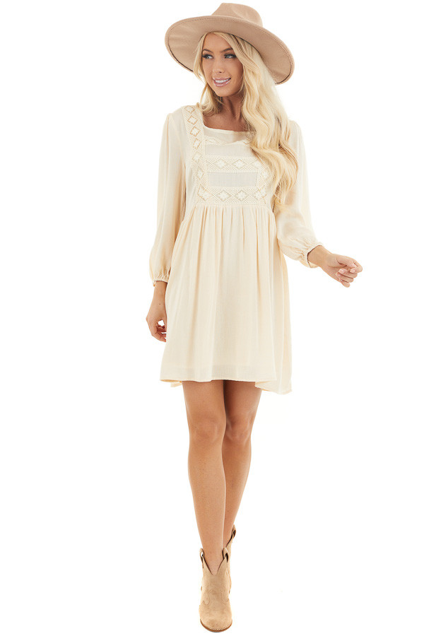 Champagne Long Sleeve Babydoll Mini Dress with Embroidery front full body