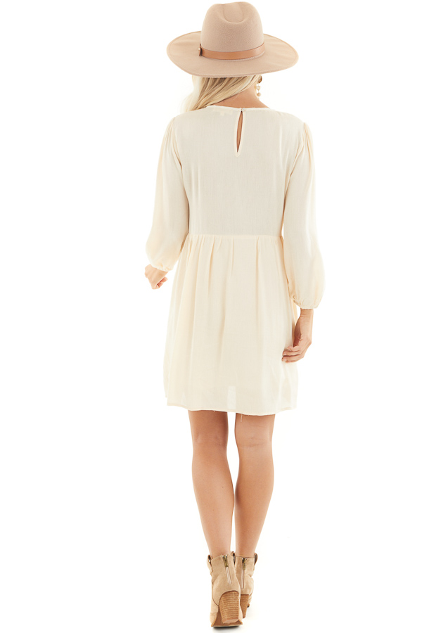 Champagne Long Sleeve Babydoll Mini Dress with Embroidery back full body