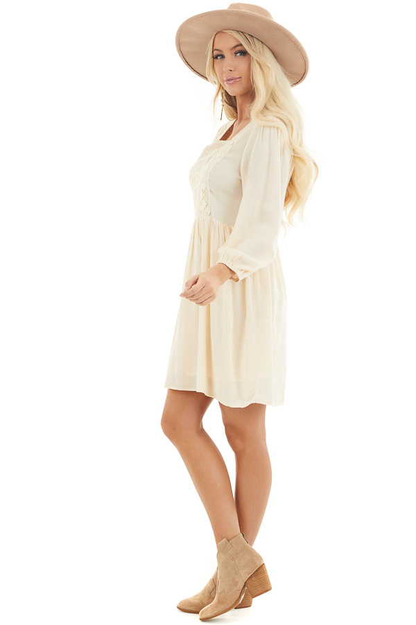 Champagne Long Sleeve Babydoll Mini Dress with Embroidery side full body