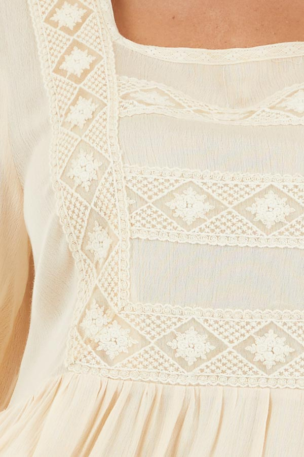 Champagne Long Sleeve Babydoll Mini Dress with Embroidery detail