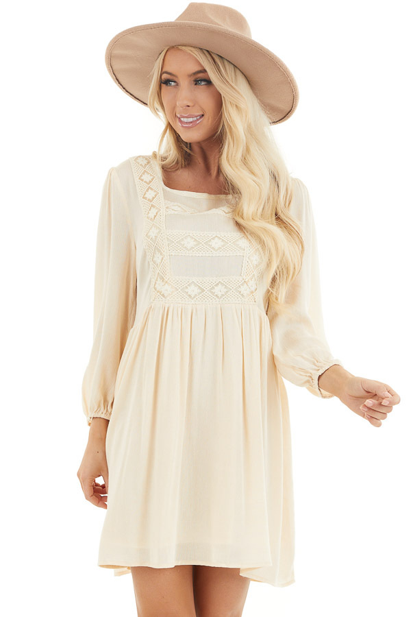 Champagne Long Sleeve Babydoll Mini Dress with Embroidery front close up