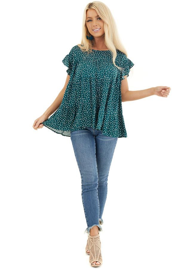 Jade Green Short Sleeve Printed Top with Keyhole Back Detail front full body