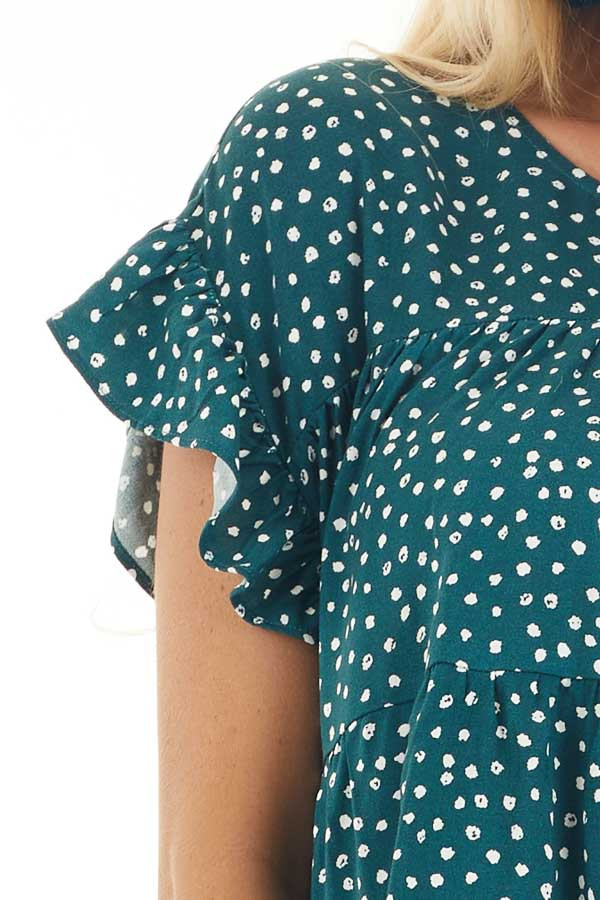 Jade Green Short Sleeve Printed Top with Keyhole Back Detail detail
